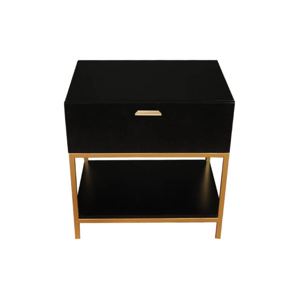 Alania Black Bedside Table with Shelf and Drawer Top View
