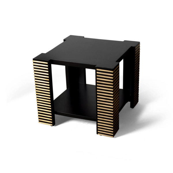 Pharo Square Wood Side Table with Brass Inlay