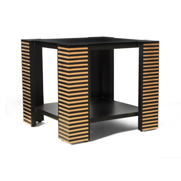 Pharo Square Wood Side Table with Brass Inlay Beside View