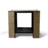 Pharo Square Wood Side Table with Brass Inlay 4