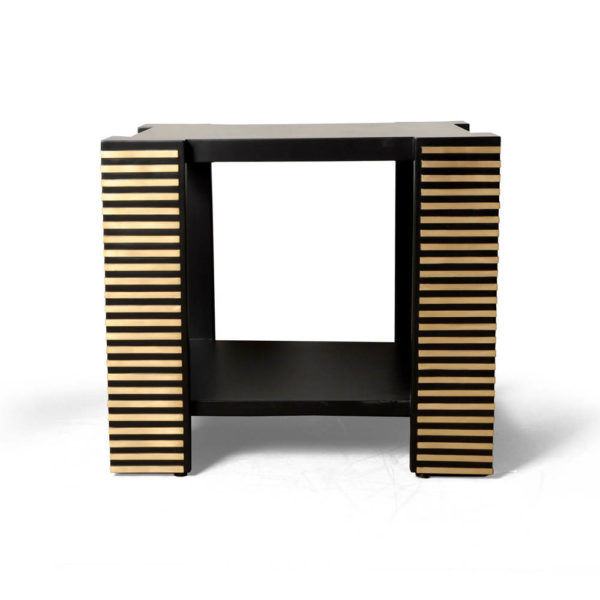Pharo Square Wood Side Table with Brass Inlay Front