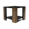Pharo Square Wood Side Table with Brass Inlay 3