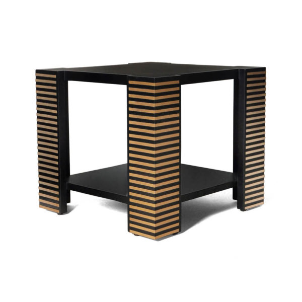 Pharo Square Wood Side Table with Brass Inlay Stripes
