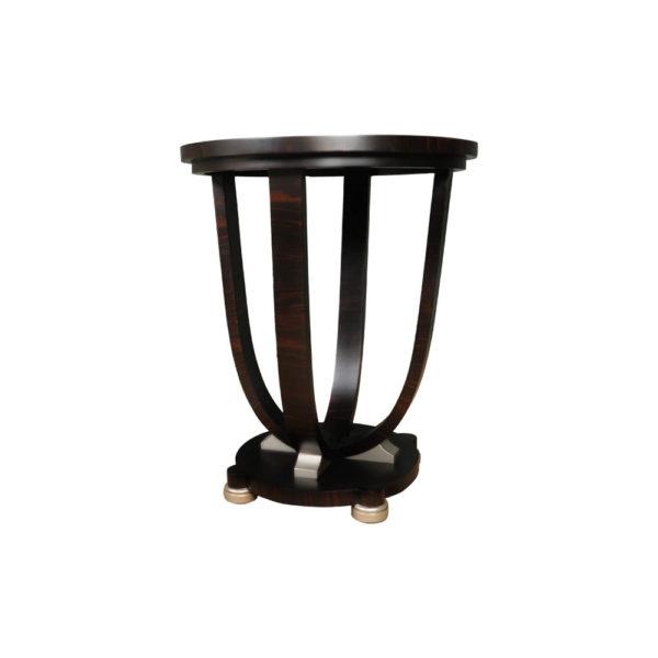 Sally Round Dark Brown Gloss Side Table Veneer