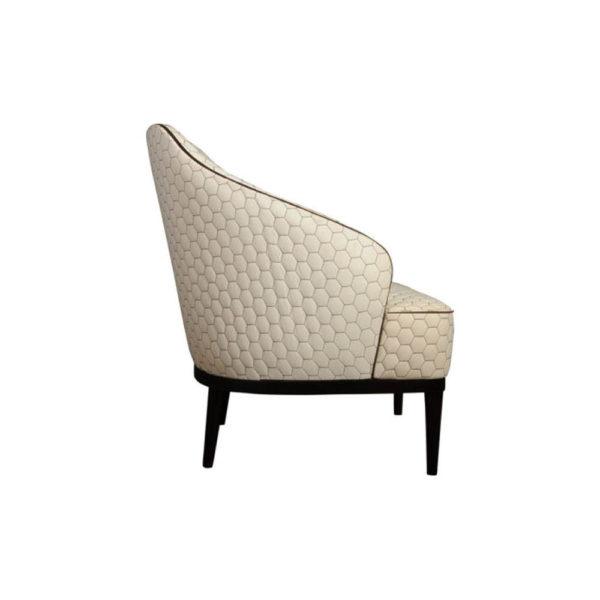 Sheila Upholstered High Backed Armchair Right Side View