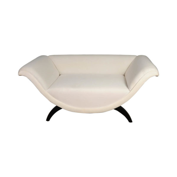 Tulip Upholstered Curved Shaped Sofa with Black Legs Front View