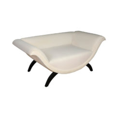 Tulip Upholstered Curved Shaped Sofa with Black Legs Right View