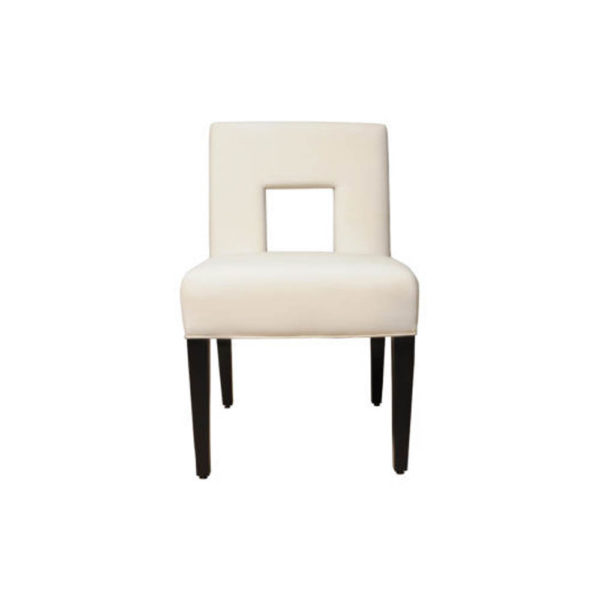 Acton Upholstered Dining Chair with Wooden Black Legs Front