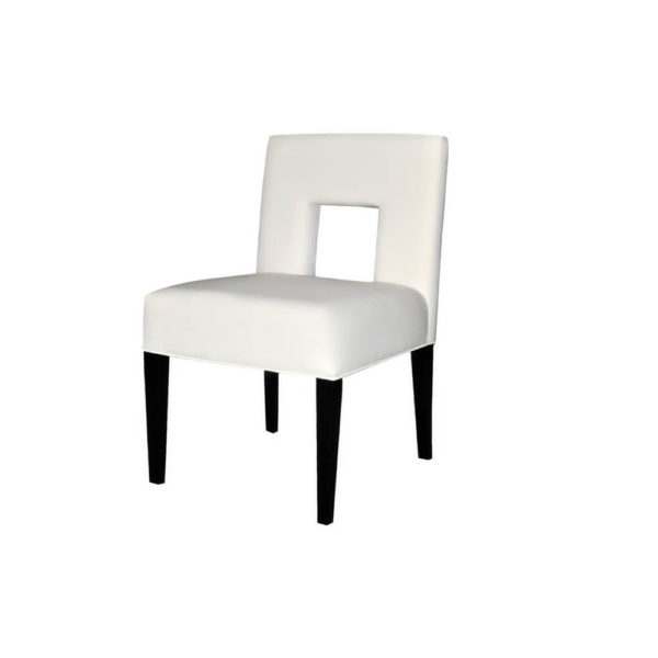 Acton Upholstered Dining Chair with Wooden Black Legs Left