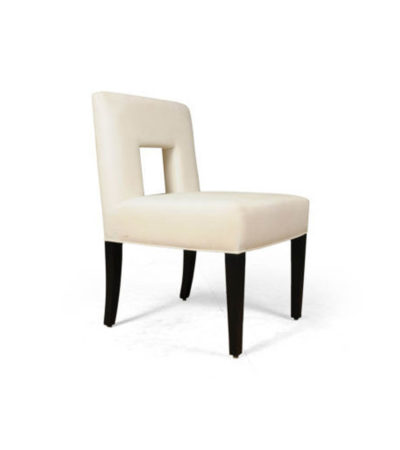 Acton Upholstered Dining Chair with Wooden Black Legs Right