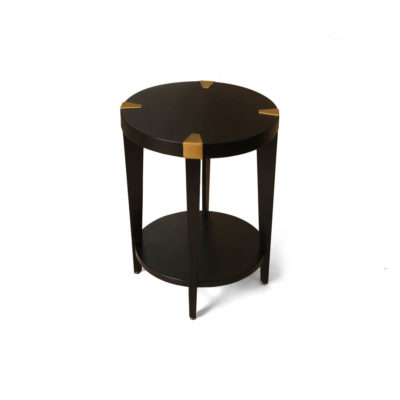 Alany Dark Brown Side Table with Brass Inlay