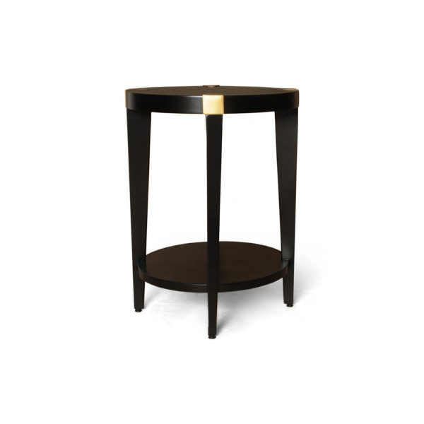 Alany Dark Brown Side Table with Brass Inlay Front