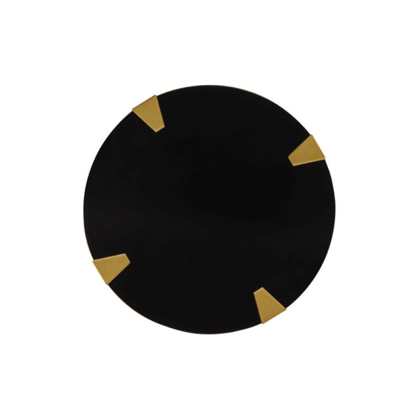 Alany Dark Brown Side Table with Brass Inlay Top