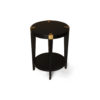 Alany Dark Brown Side Table with Brass Inlay 3