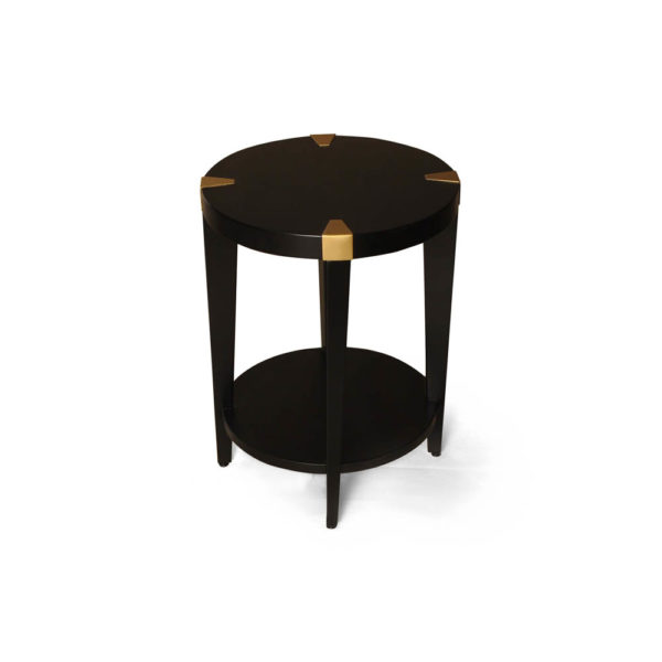 Alany Dark Brown Side Table with Brass Inlay Top Side View