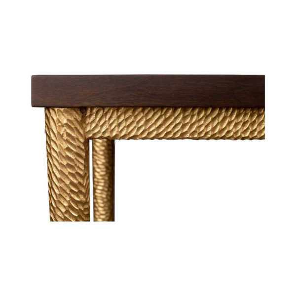 Amoir Small Brown Side Table With Golden Legs Details