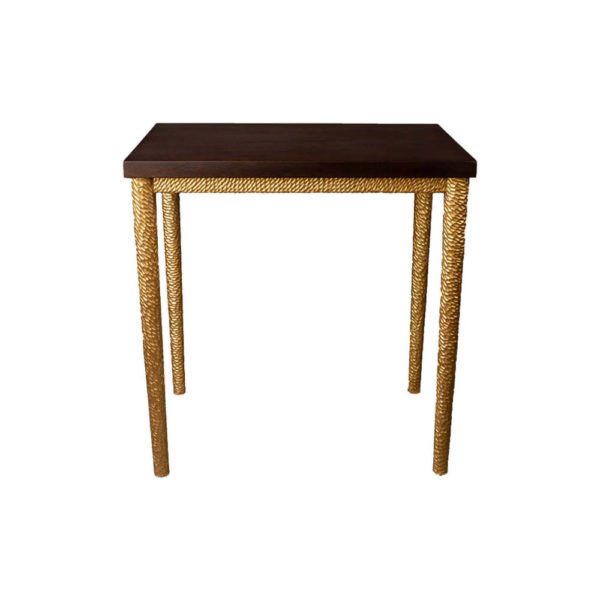 Amoir Small Brown Side Table With Golden Legs Front View