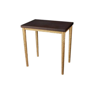 Amoir Small Brown Side Table With Golden Legs Side View