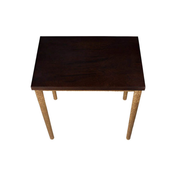 Amoir Small Brown Side Table With Golden Legs Top View