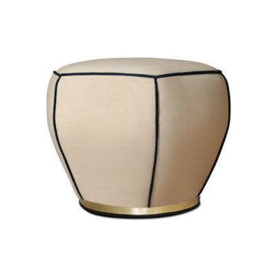 Bethy Upholstered Living Room Pouf with Brass Inlay