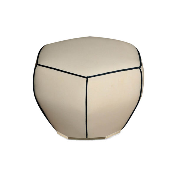 Bethy Upholstered Living Room Pouf with Brass Inlay Front View