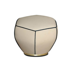 Bethy Upholstered Living Room Pouf with Brass Inlay Round Base