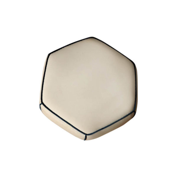 Bethy Upholstered Living Room Pouf with Brass Inlay Top View