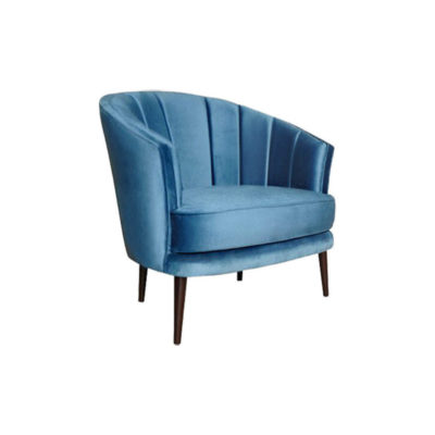 Gena Armchair Blue Velvet Beside View