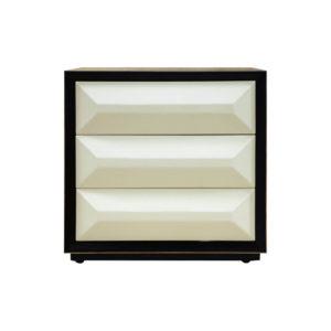 Kvadrat Dark Brown and Cream Gloss Bedside Table