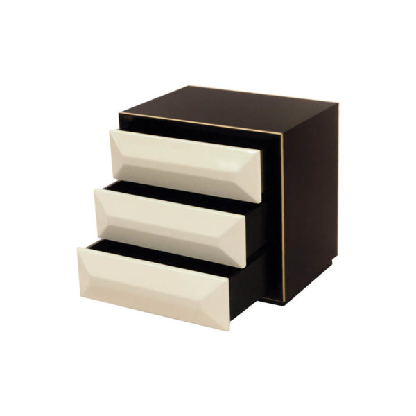 Kvadrat Dark Brown and Cream Gloss Bedside Table Drawer