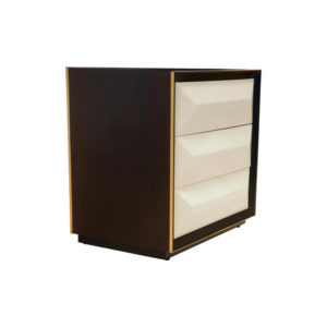 Kvadrat Dark Brown and Cream Gloss Bedside Table Side View