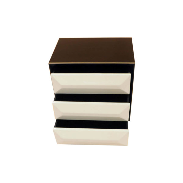 Kvadrat Dark Brown and Cream Gloss Bedside Table Top View
