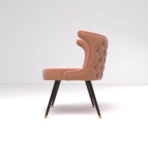 Akai Upholstered Tufted Dining Chair Left Side View