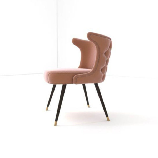 Akai Upholstered Tufted Dining Chair Side View