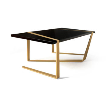 Anais Wooden Coffee Table with Gold Stainless Steel Legs