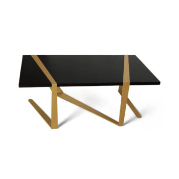 Anais Wooden Coffee Table with Gold Stainless Steel Legs Top
