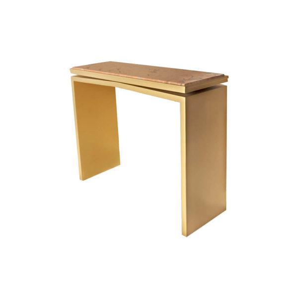 Arch Gold Marble Top Console Table Beside view