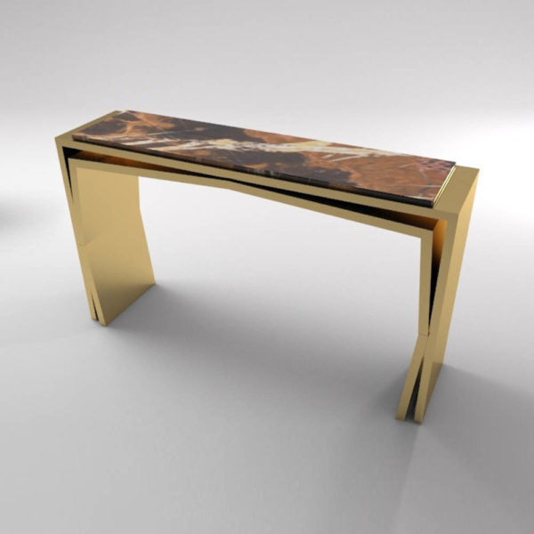 Aria Wooden Gold Console Table with Marble Top Beside View