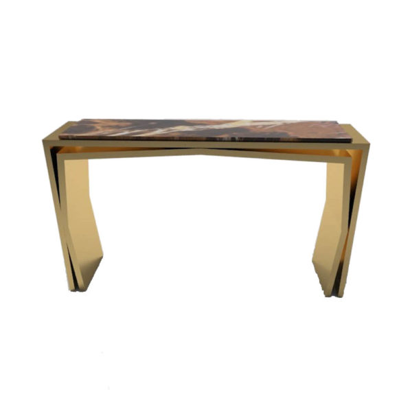 Aria Wooden Gold Console Table with Marble Top F