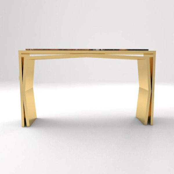 Aria Wooden Gold Console Table with Marble Top Front View