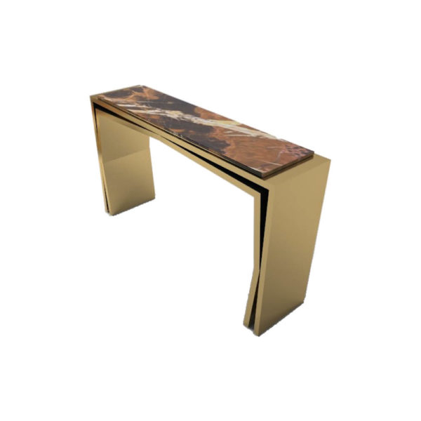 Aria Wooden Gold Console Table with Marble Top Side View