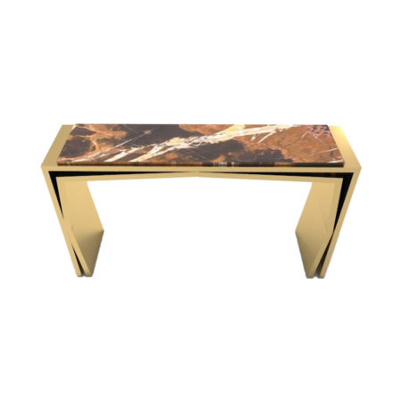 Aria Wooden Gold Console Table with Marble Top View