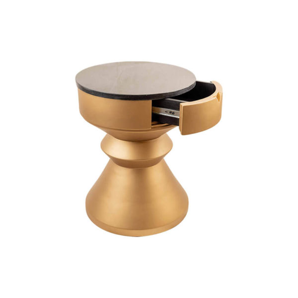 Bishop Round Gold Bedside Table with Drawer Beside View