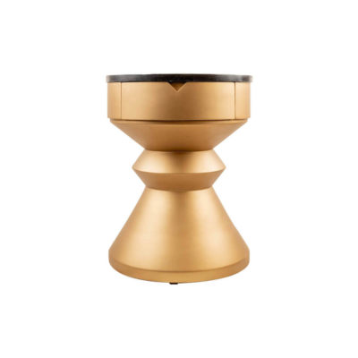 Bishop Round Gold Bedside Table with Drawer Front
