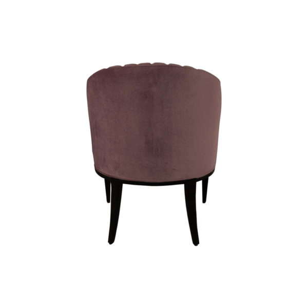 Bogo Upholstered Striped Armchair with Black Legs Dark Purple Back View