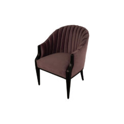 Bogo Upholstered Striped Armchair with Black Legs Dark Purple Top View