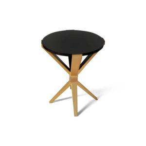 BonBon Round Dark Brown and Gold Cross Leg Side Table