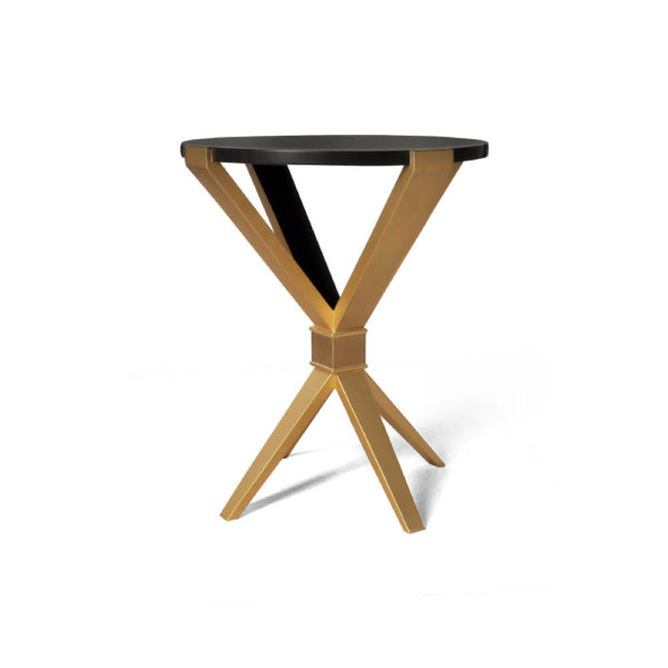 BonBon Round Dark Brown and Gold Cross Leg Side Table Front