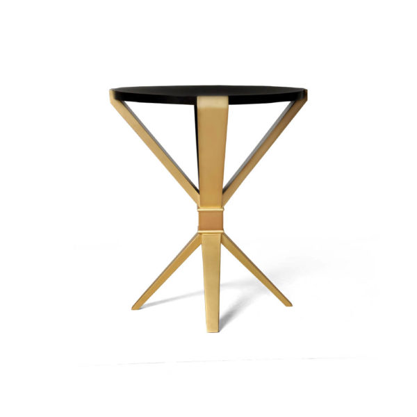 BonBon Round Dark Brown and Gold Cross Leg Side Table Front View