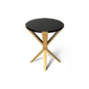 BonBon Round Dark Brown and Gold Cross Leg Side Table 2